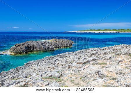 Menorca island coast view on Mediterranean Sea, Balearic Islads, Spain.