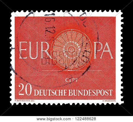 GERMANY - CIRCA 1960 : Cancelled postage stamp printed by Germany, that shows CEPT stamp.