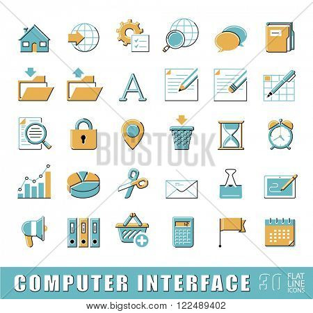 Set of computer interface icons. Flat line icons for web and comunication technology..Collection of premium quality linear icons. Vector illustration
