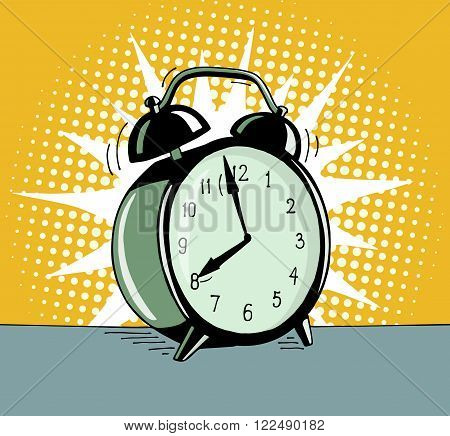 Cartoon pop art alarm clock. Comic retro hand drawn illustration - The alarm clock is ringing to wake up in the morning. Vector isolated on yellow halftone background.