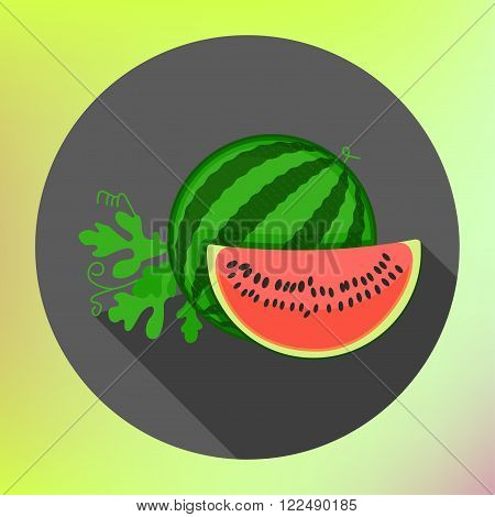 sliced watermelon flat long shadow style vector icon. Modern flat pictogram. Big watermelon slice cut with seed Flat design icon. Watermelon icon, modern minimal flat design style, vector illustration
