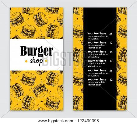 Vector hand drawn burger menu. Vintage hand drawn illustration for your business. Great for fast food menu flyer brochure our business promote.