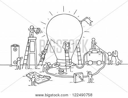 Sketch of lamp idea construction with working little people battery flag. Doodle cute miniature of building lighting lamp and preparing for the new creative. Hand drawn cartoon vector illustration for business design and infographic.