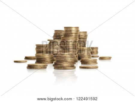 Pile of coins isolated on white background. Russian rouble