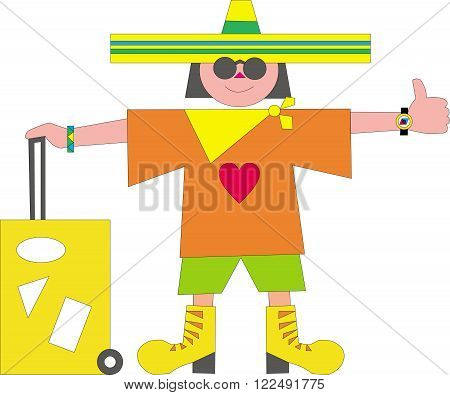 Tourist in sunglasses wearing a sombrero and a short jacket with a heart (I love the concept). He votes to be brought up and holding a suitcase with stickers. ?oncept of tourism