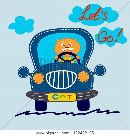 Cool red cat in a cute blue car. T-shirt design. Vector illustration