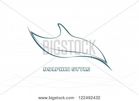 Dolphin Logo, Vector, Animal Sea, Wave, Label, Emblem