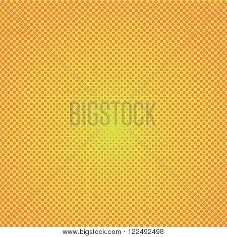 Halftone dots. Orange dots on yellow background. Vector illustration.
