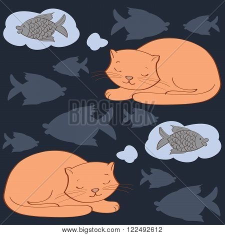 seamless pattern with sleeping cat`s and fish. vector illustration.