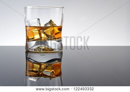 view of Whiskey with ice in simple glass