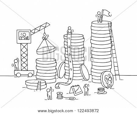 Sketch of stack of coins with working little people crane. Doodle cute miniature of construction golden coins and preparing for the big profit. Hand drawn cartoon vector illustration for business design.