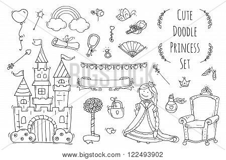 Cute cartoon princess collection with throne castle jewerly crown. Doodle fairytale set for kids. Hand drawn vector illustration isolated on white. All objects are grouped separately.