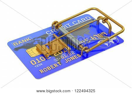 Mousetrap with Credit Card isolated on white background