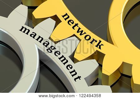 Network Management concept on the metallic gearwheels