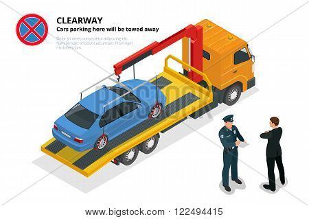 Isometric police fines car design flat isolated. 3D car on Tow truck, police officer traffic, policeman person fines, transportation driver fines, fines transport, sheriff fines guy security violation