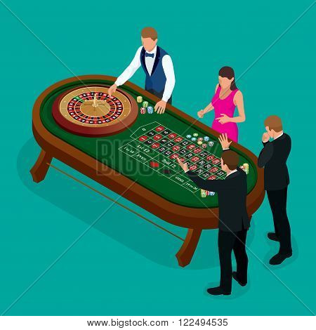 Roulette wheel and croupier in casino. Group of young people behind roulette table in a casino. Casino concept. Flat 3d vector isometric illustration