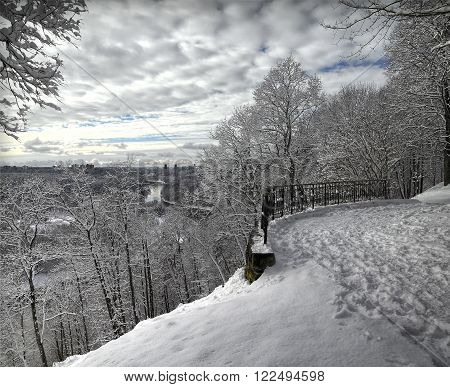 Winter landscape, Verkiai palace viewpoint. Sunny day