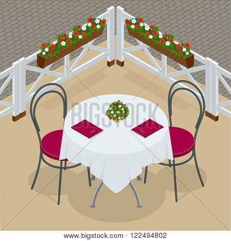 Table with chairs for cafes. Modern table and chairs on white background. Street cafe. Flat 3d vector isometric illustration