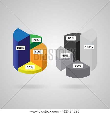 pie chart with four columns in two versions - color and grayscale