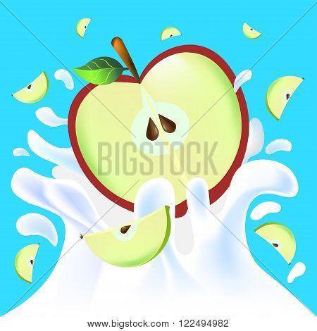 Apple Half In Yoghurt