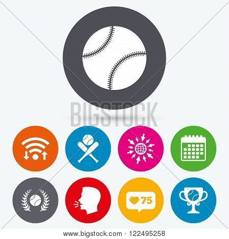 Wifi, like counter and calendar icons. Baseball sport icons. Ball with glove and two crosswise bats signs. Winner award cup symbol. Human talk, go to web.