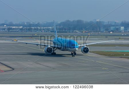 Schiphol Airport Noord Holland/the Netherlands - March 10 2016: KLM passenger aircraft on the runway