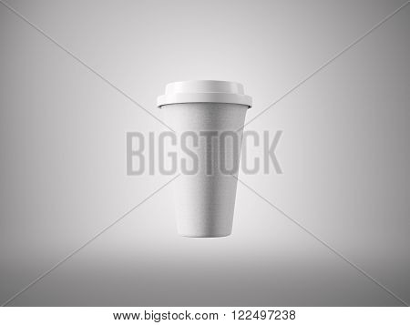 Photo open white paper take away coffee cup. Isolated on the light background. Ready for business info. Horizontal mockup.