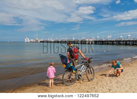 Sopot, Poland - August 1, 2015: Sopot is one of the most popular tourist resorts in Poland. The receiving many tourists every summer.