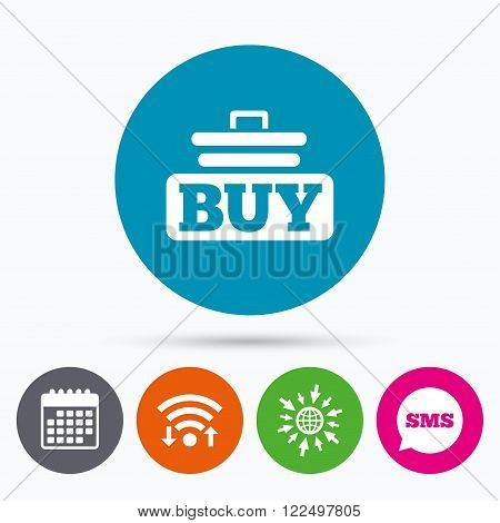 Wifi, Sms and calendar icons. Buy sign icon. Online buying cart button. Go to web globe.