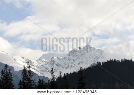 Mount Kasprowy is seen from town of Zakopane the mountain is situated in the main ridge of the Tatras. There is located upper station of the cable car