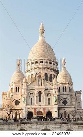 Paris; France-March 17 2016 : The famous basilica Sacre Coeur is a Roman catholic church located on the butte Montmartre in Paris France.