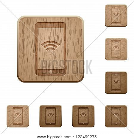 Set of carved wooden wireless cellphone buttons in 8 variations.