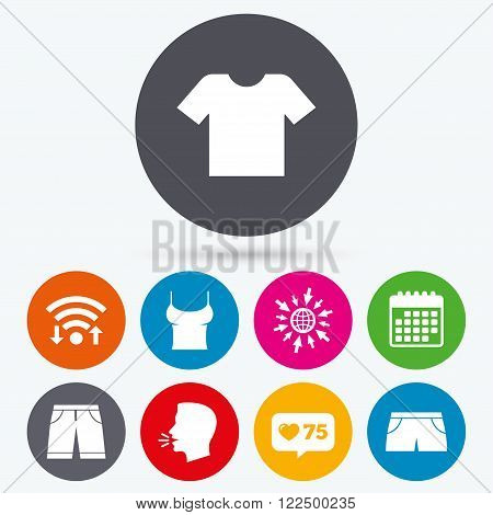 Wifi, like counter and calendar icons. Clothes icons. T-shirt and bermuda shorts signs. Swimming trunks symbol. Human talk, go to web.