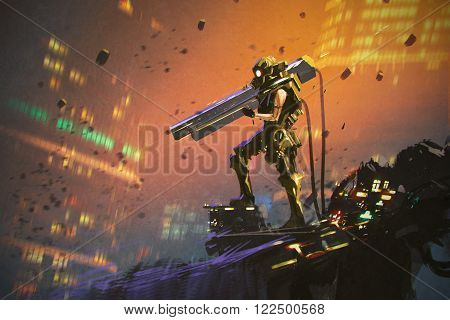 futuristic soldier in yellow suit with gun, illustration painting