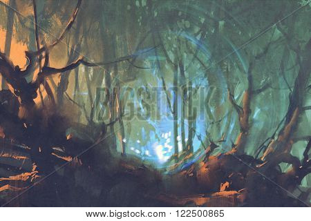 dark forest with mystic light, illustration painting