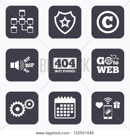 Mobile payments, wifi and calendar icons. Website database icon. Copyrights and gear signs. 404 page not found symbol. Under construction. Go to web symbol.