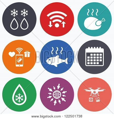 Wifi, mobile payments and drones icons. Defrosting drop and snowflake icons. Hot fish and chicken signs. From ice to water symbol. Calendar symbol.