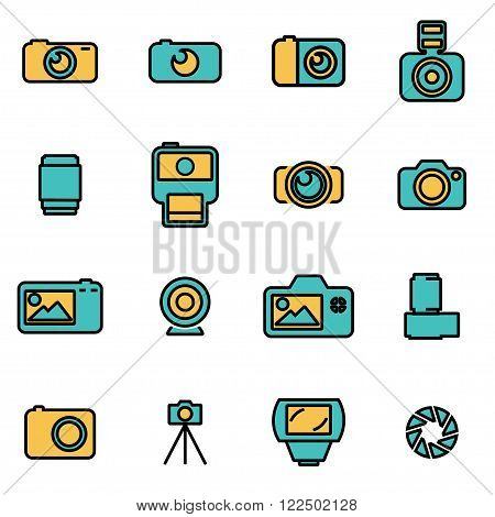 Trendy flat line icon pack for designers and developers. Vector line camera icon set
