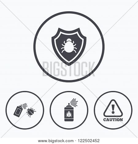 Bug disinfection icons. Caution attention and shield symbols. Insect fumigation spray sign. Icons in circles.