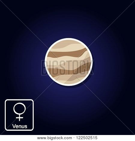 Stock vector icons with Venus and astrology symbol of planet for your design