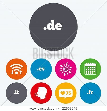 Wifi, like counter and calendar icons. Top-level internet domain icons. De, It, Es and Fr symbols. Unique national DNS names. Human talk, go to web.