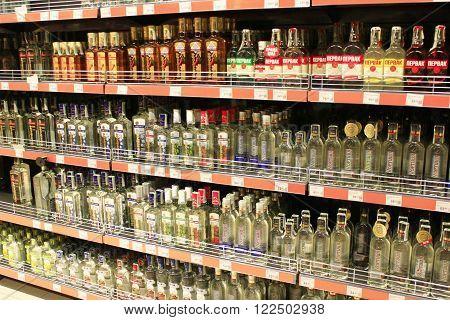 Chernihiv / Ukraine. 06 March 2016 : store of strong alcoholic drinks like vodka on the shelves of supermarket. 6 March 2016 in Chernihiv / Ukraine.