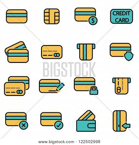 Trendy flat line icon pack for designers and developers. Vector line credit card icon set