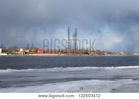Coast of the river Neva on the outskirts of St.Petersburg at early spring Russia.