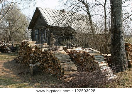 Russian village in the spring a large stack of firewood near the old log house.
