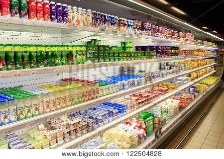 Chernihiv / Ukraine. 06 March 2016 : yogurts milk and others dairy produce on the shelves of shop in Chernihiv. Goods produced by Ukrainian producers. 06 March 2016 in Chernihiv / Ukraine.