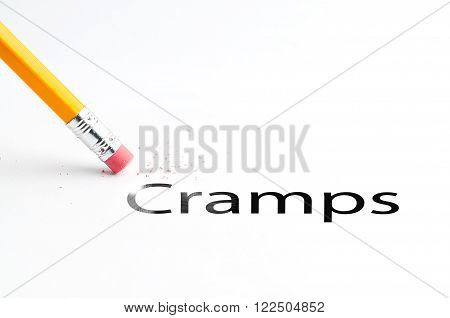 Closeup of pencil eraser and black cramps text. Cramps. Pencil with eraser.
