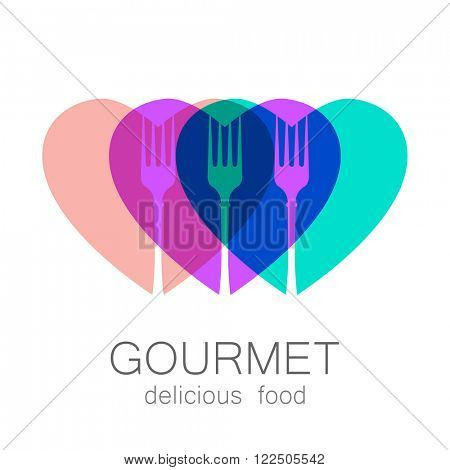 Gourmet logo. Delicious food. Lovely food logo template. Love Food logo. Template logo for restaurant, cafe, fast food, store food. Modern vector logo.
