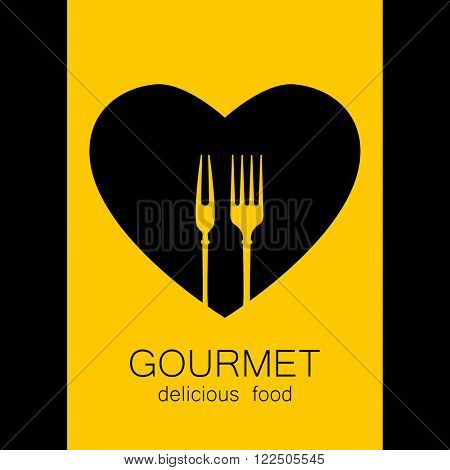 Gourmet logo. Delicious food. Lovely food logo template. Love Food logo. Template logo for restaurant, cafe, fast food, store food. Vector logo.