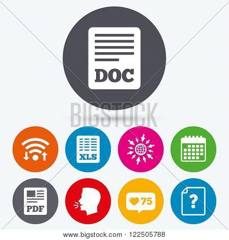 Wifi, like counter and calendar icons. File document and question icons. XLS, PDF and DOC file symbols. Download or save doc signs. Human talk, go to web.